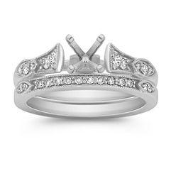 Vintage Cathedral Diamond Wedding Set in Platinum