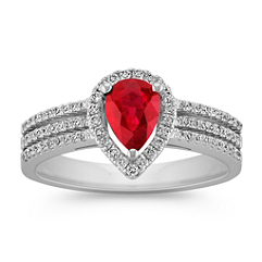 Triple Banded Ruby Ring With Pear Shaped Diamond Halo