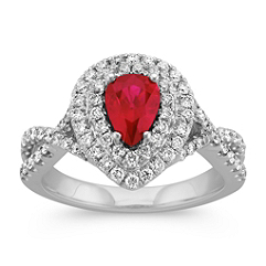 Pear Shaped Ruby and Diamond Double Halo Fashion Ring