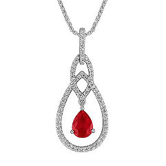 Pear Shaped Ruby and Diamond Drop Pendant (18 in.)