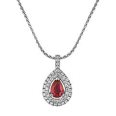 Pear Shaped Ruby and Round Diamond Double Halo Pendant (18 in.)