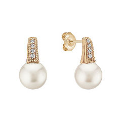 Vintage 7.5mm Akoya Pearl and Diamond Earrings in Yellow Gold