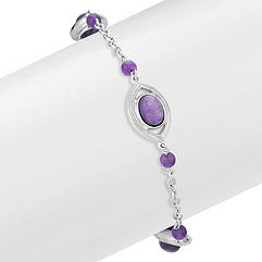 Charoite and Amethyst Sterling Silver Bracelet (7.5)