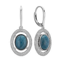 Sterling SIlver and Apatite Leverback Dangle Earrings