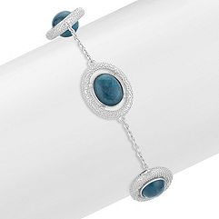 Apatite and Sterling Silver Bracelet (7.5)
