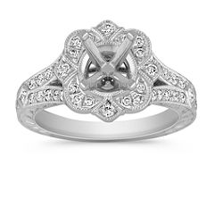 Vintage Princess Cut and Round Diamond Engagement Ring with Pave Setting