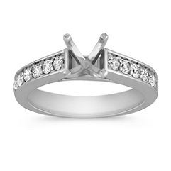 Platinum Cathedral Diamond Engagement Ring with Pave Setting