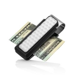 Black Anodized Aluminum Money Clip with Golf Ball Accent