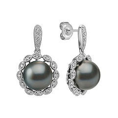 10mm Cultured Tahitian Pearl and Diamond Halo Earrings