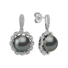 10mm Cultured Tahitian Pearl and Diamond Halo Earrings