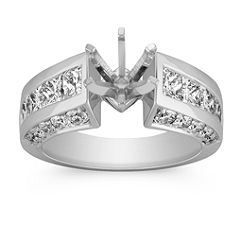 Cathedral Princess Cut and Round Diamond Engagment Ring with Channel Setting