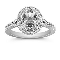 Oval Double Halo Round Diamond Engagement Ring with Pave Setting