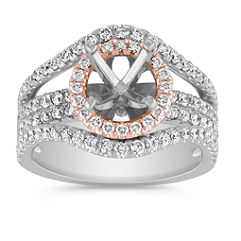 Halo Diamond Engagement Ring in Rose and White Gold with Pave Setting