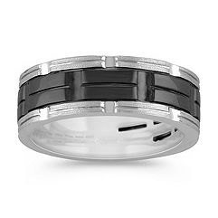 14k White Gold Ring with Black Ruthenium (8mm)