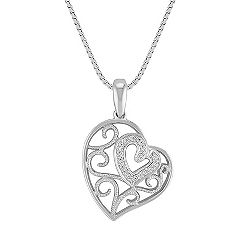 Vintage Diamond Heart Pendant in Sterling Silver (18 in.)