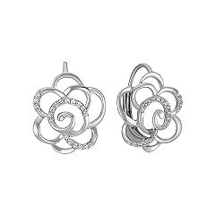 Round Diamond Flower Leverback Earrings