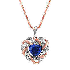 Heart-Shaped Sapphire and Round Diamond Pendant in Two-Tone Gold (18 in.)
