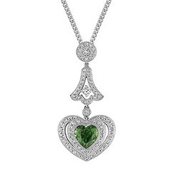 Heart-Shaped Green Sapphire and Diamond Pendant (18 in.)