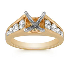Round Diamond Cathedral Engagement Ring with Channel Setting