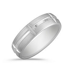 Engraved White Gold Men's Ring with Satin Finish (6mm)