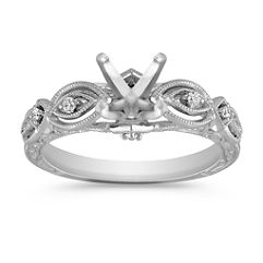 Vintage Platinum Diamond Engraved Engagement Ring