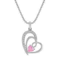 Heart-Shaped Pink Sapphire and Round Diamond Sweetheart Pendant in Sterling Silver (18)
