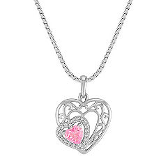 Heart-Shaped Pink Sapphire and Diamond Double Heart Pendant in Sterling Silver (18 in.)