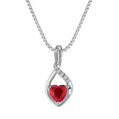 Heart-Shaped Ruby and Diamond Pendant in Sterling Silver (18 in.)