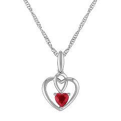 Heart-Shaped Ruby Heart Pendant in Sterling Silver (20 in.)