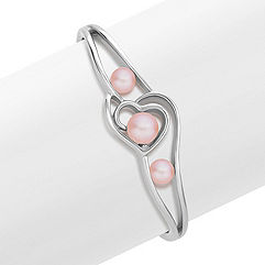 6.5-8.5mm Pink Cultured Freshwater Pearl Sterling Silver Heart Bangle Bracelet (7 in.)