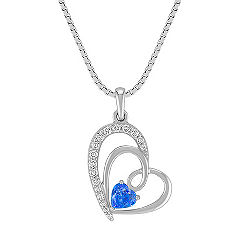 Heart-Shaped Kentucky Blue Sapphire and Diamond Sweetheart Pendant in Sterling Silver (18 in.)