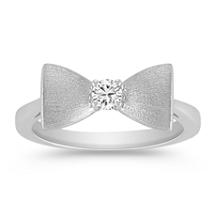 Sterling Silver and Diamond Bow Ring