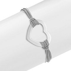 Engravable Sterling Silver Heart Bracelet (7.5)