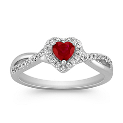 Heart Shaped Ruby and Diamond Swirl Ring
