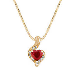 Graceful Heart Shaped Ruby and Diamond Pendant in Yellow Gold (18 in.)