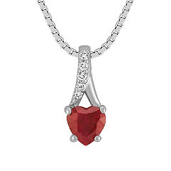 Heart Shaped Ruby and Diamond Pendant (18 in.)