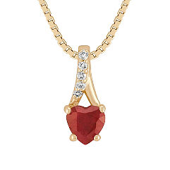 Round Diamond and Heart Shaped Ruby Pendant (18 in.)