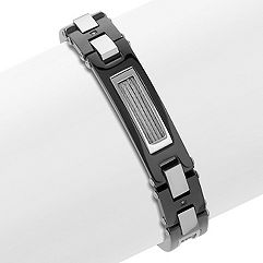 Diamond Bracelet in Stainless Steel with Black Ionic Plating (8.5 in.)