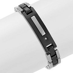 Stainless Steel and Diamond Bracelet with Black Ionic Plating (8.5 in.)