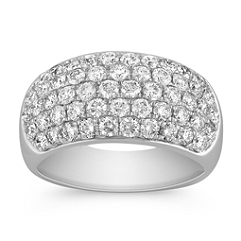 Round Diamond Contemporary Ring with Pave Setting