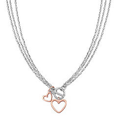 Sterling Silver Double Heart Pendant (18 in.)