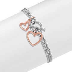 Sterling Silver Double Heart Bracelet (7 in.)