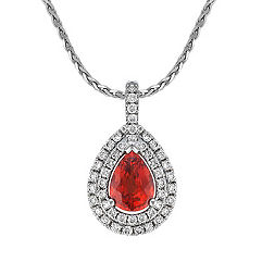 Pear Shaped Fire Sapphire and Diamond Double Halo Pendant (18 in.)