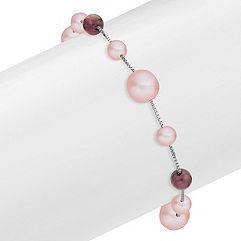 5.5-9mm Pink Cultured Freshwater Pearl and Garnet Red Velvet Bracelet (7.5)