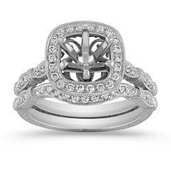 Halo Vintage Diamond Engraved Wedding Set with Pave Setting