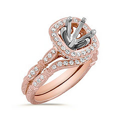 Halo Vintage Rose Gold Diamond Engraved Wedding Set with Pavé Setting