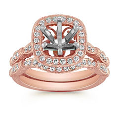 Halo Vintage Rose Gold Diamond Engraved Wedding Set with Pave Setting