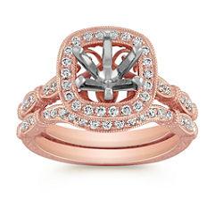 Halo Vintage Rose Gold Diamond Engraved Wedding Set with Pave Setting