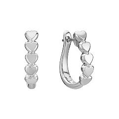 Sterling Silver Stackable Heart Hoop Earrings