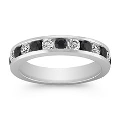 Black Sapphire and Diamond Wedding Band for Her